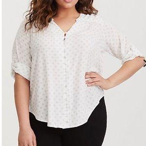 White and grey geo print challis blouse